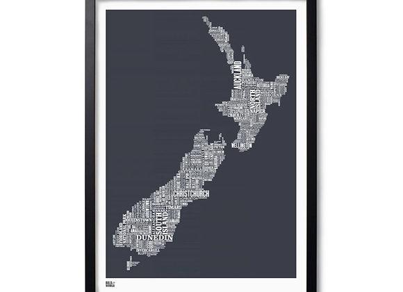 New Zealand map typography print