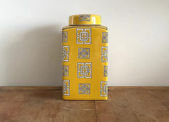 Yellow rectangular Ginger Jar Medium