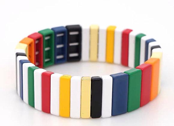 Wide enamel colourful bracelet