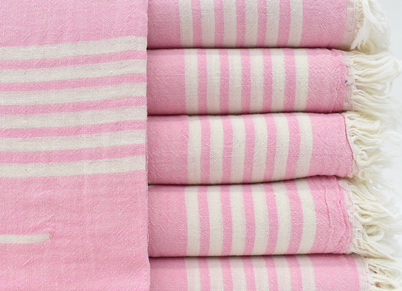Pink jacquard Turkish beach towel