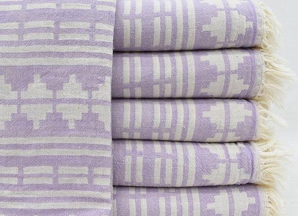 Lilac Aztec jacquard Turkish beach towel