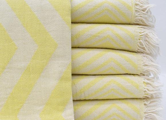 Yellow fading zig zag Turkish beach towel