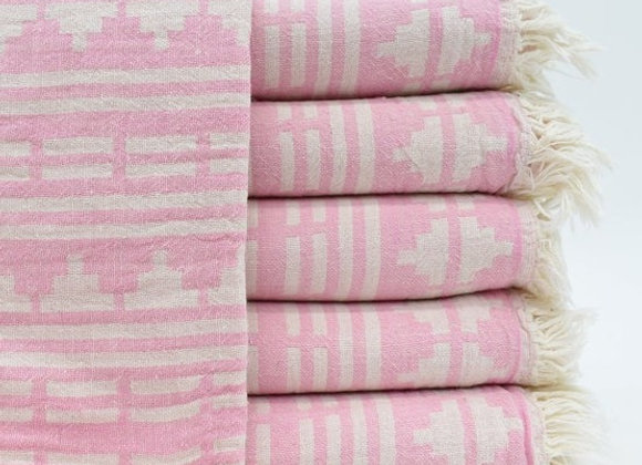 Pink Aztec jacquard Turkish beach towel