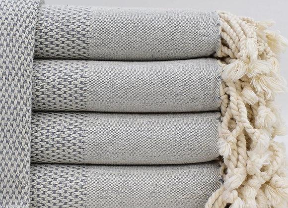 Grey stonewashed Turkish beach towel