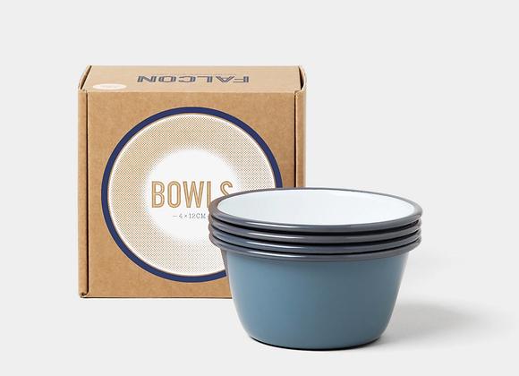 4 pack of Falcon enamel 12cm bowls - Pigeon Grey