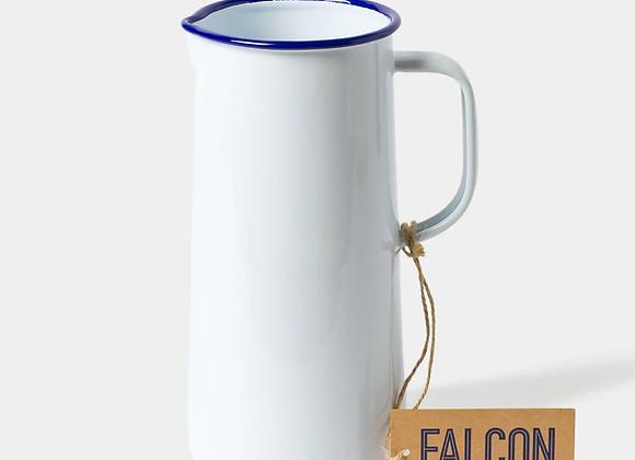 Falcon enamel jug in white with blue rim