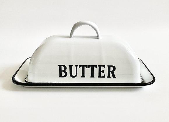 White retro enamel butter dish