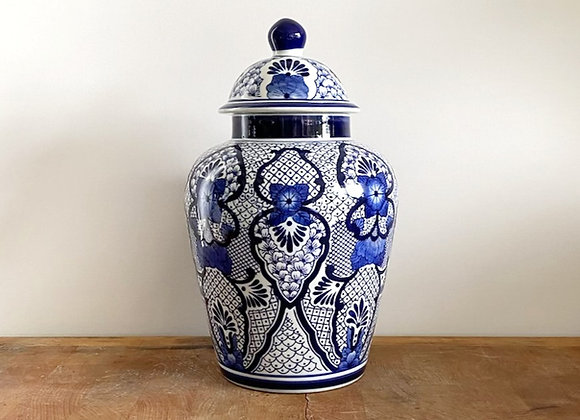 "Medium ""blossom"" Blue Ginger jar"