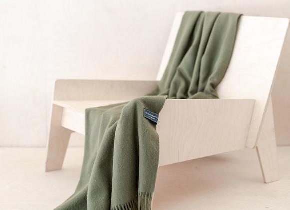 Olive Lambswool Knee blanket