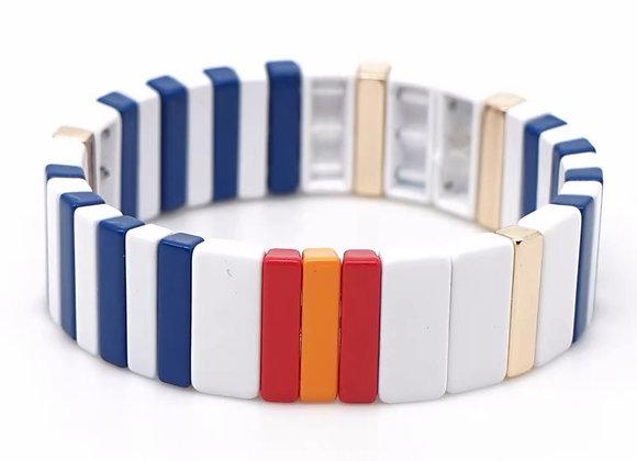 Wide enamel navy and white bracelet