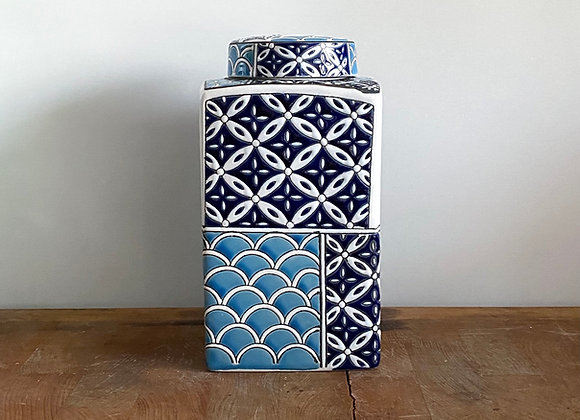 Blue and Navy rectangular Ginger Jar