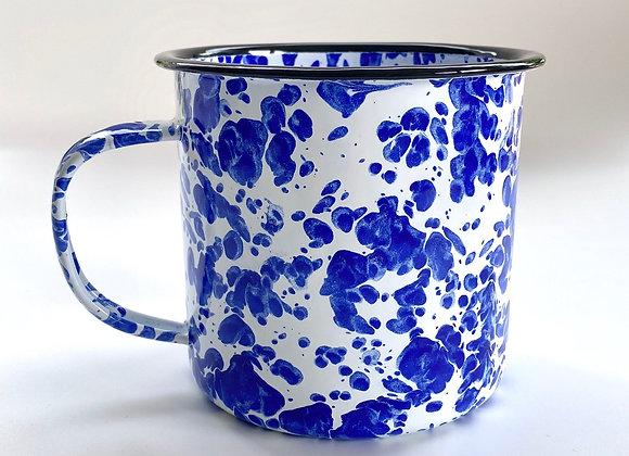 Jumbo Blue and white splash effect enamel cup