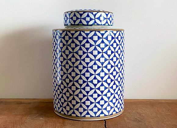 """Medium blue and white """"copper coin"""" Ginger jar"""