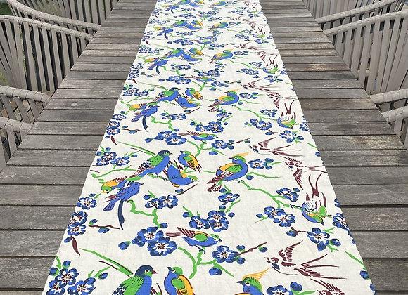 Handmade table runner- cream bird
