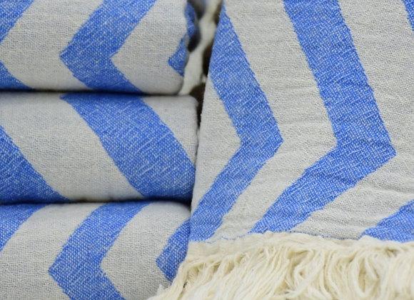 Blue fading zig zag Turkish beach towel