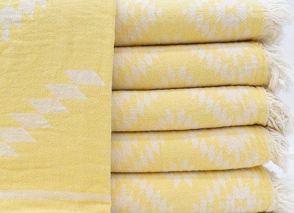 Yellow Aztec jacquard Turkish beach towel