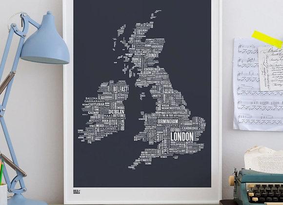British Isles map typography print