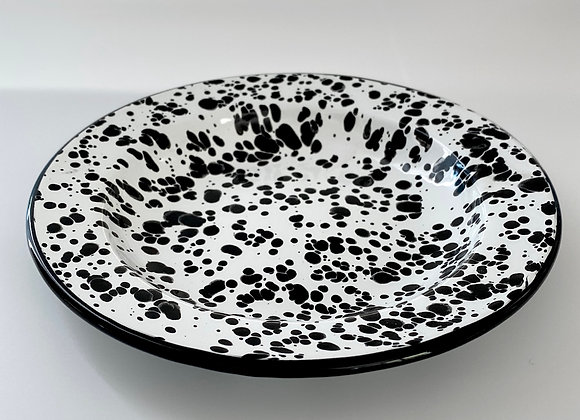 Black and white splash effect enamel side plate