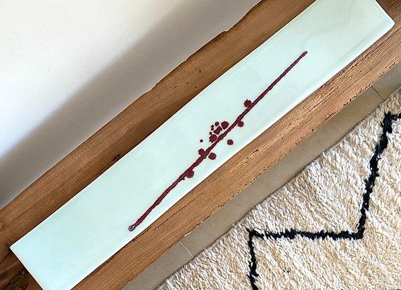 Spin Long Slat Plate - Under Glaze Red