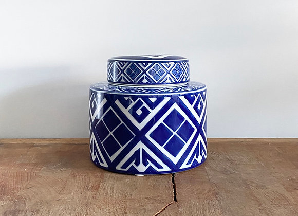 """Small blue and white """"diamond"""" Ginger jar"""