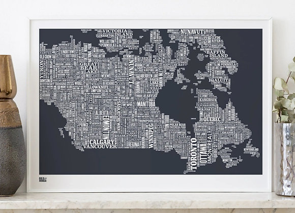 Canada map typography print