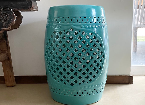 Turquoise cut out ceramic stool