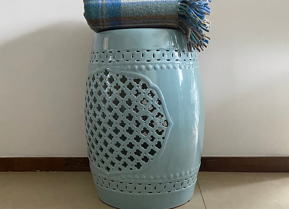 Pale blue cut out ceramic stool