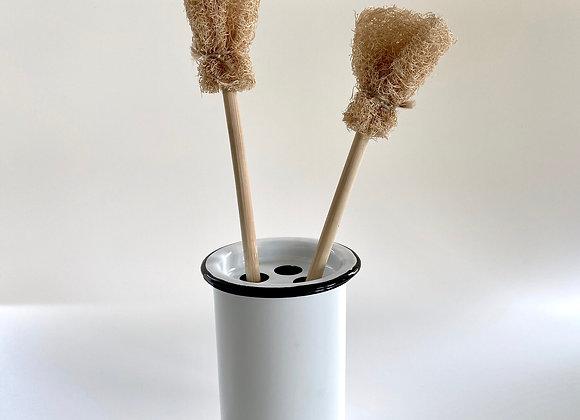 White enamel toothbrush/utensil pot