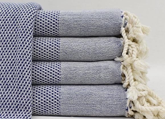 Dark blue stonewashed Turkish beach towel