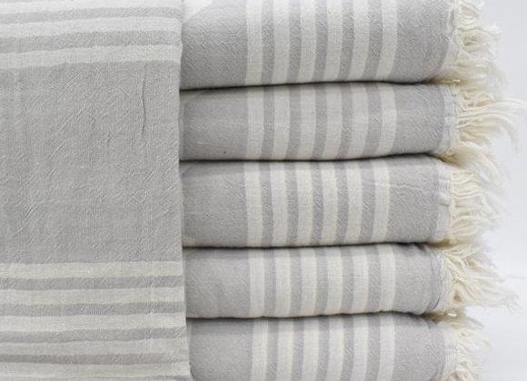 Pale grey jacquard Turkish beach towel