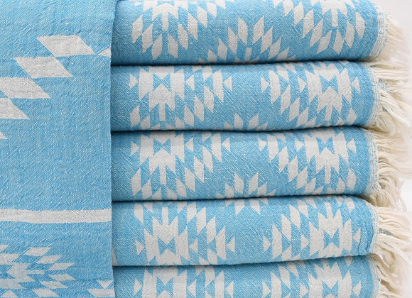 Turquoise Aztec jacquard Turkish beach towel