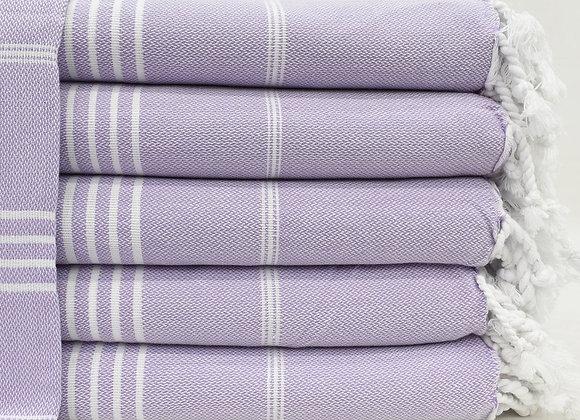 Lilac striped Hammam Turkish beach towel