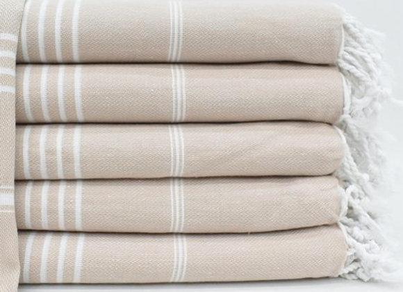 Beige striped Hammam Turkish beach towel