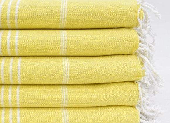 Yellow striped Hammam Turkish beach towel