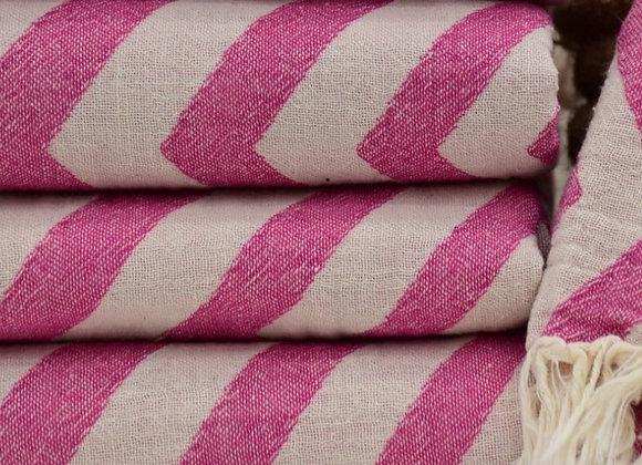 Pink fading zig zag Turkish beach towel