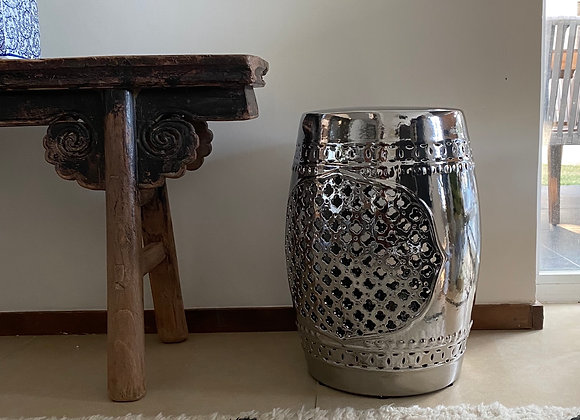 Silver cut out ceramic stool