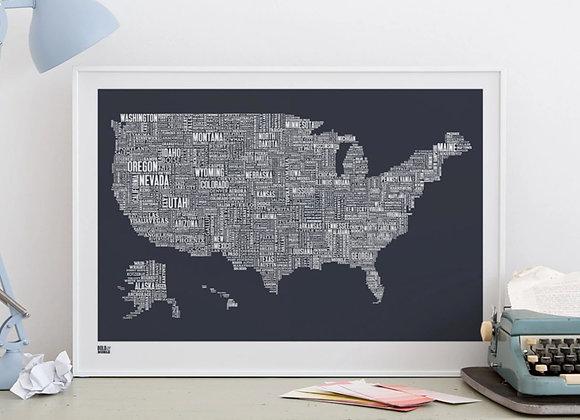 USA map typography print