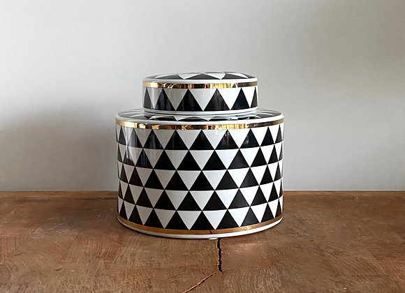 Small black, white and gold Ginger jar