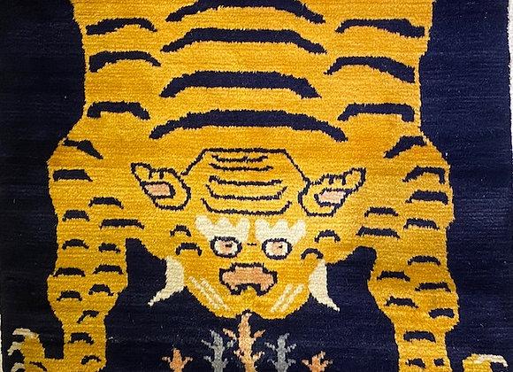 Vintage handmade Tibetan Tiger Rug