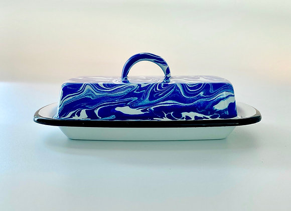 Blue and white marble effect enamel butter dish