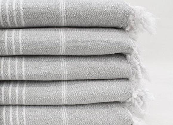 Grey striped Hammam Turkish beach towel
