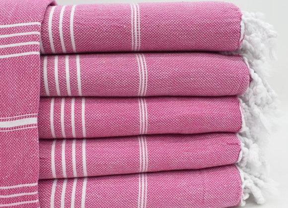 Deep pink striped Hammam Turkish beach towel