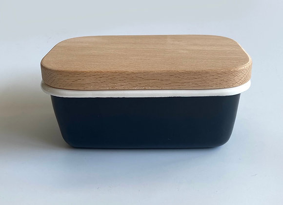 Black enamel butter dish with wooden lid