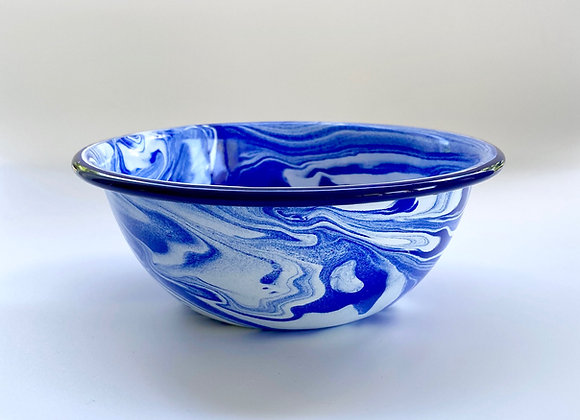 16cm Blue and white marble effect enamel bowl
