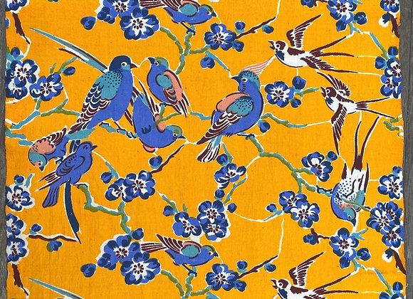 Handmade table runner- yellow birds
