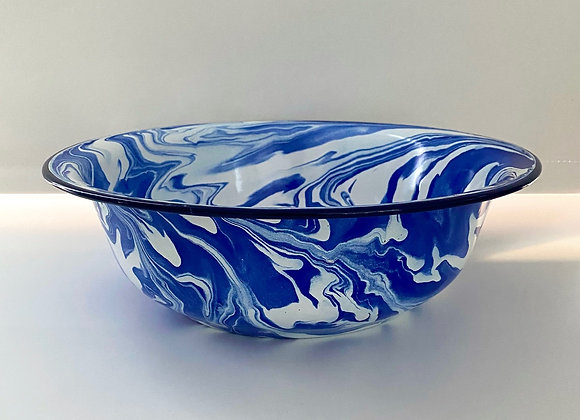 32cm Large serving bowl in blue and white marble effect enamel