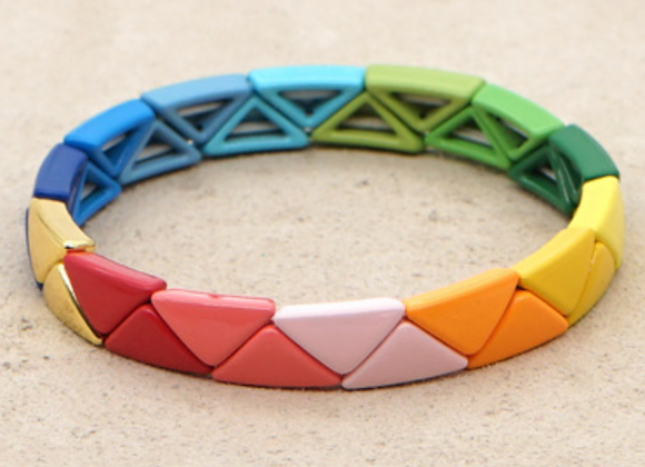 Rainbow enamel triangle beaded bracelet