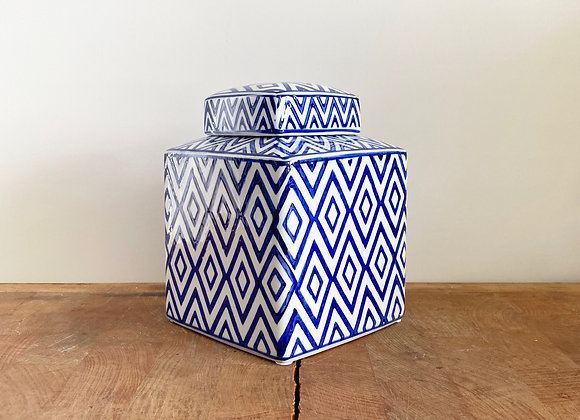 Small square diamond blue and white Ginger jar