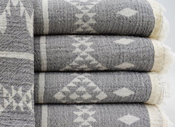 Dark grey Aztec jacquard Turkish beach towel