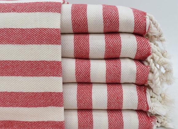 Red striped super soft Turkish beach towel / blanket
